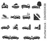 road accident  monochrome icons ... | Shutterstock .eps vector #1064003438