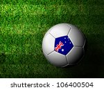 Australia Flag Pattern 3d rendering of a soccer ball in green grass - stock photo