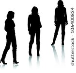 Silhouettes Of Fashion Girls