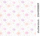 kawaii clouds and drops pattern ... | Shutterstock . vector #1064008889