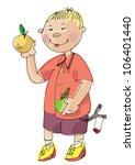 boy with apple   cartoon | Shutterstock .eps vector #106401440