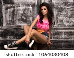 young sexy brunette woman in ... | Shutterstock . vector #1064030408
