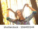 happy beautiful hispanic girl... | Shutterstock . vector #106403144