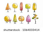 set of autumn doodle sketch... | Shutterstock .eps vector #1064033414