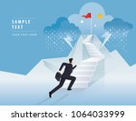businessman running up stairway ... | Shutterstock .eps vector #1064033999