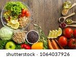 healthy food background  fruits ... | Shutterstock . vector #1064037926