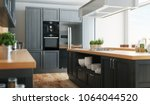 Stock photo modern kitchen with parquet and grey fornitures d render illustration 1064044520