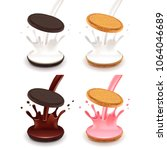 white and dark sandwich cookies ... | Shutterstock .eps vector #1064046689