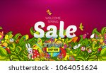 welcome spring sale banner... | Shutterstock . vector #1064051624