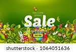 welcome spring sale banner... | Shutterstock . vector #1064051636