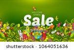 welcome spring sale banner... | Shutterstock . vector #1064051636