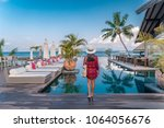 young woman in front of an...   Shutterstock . vector #1064056676
