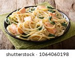 serving of spaghetti with... | Shutterstock . vector #1064060198