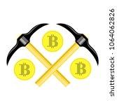 vector golden bitcoin on white... | Shutterstock .eps vector #1064062826