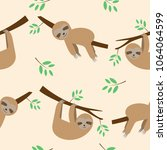 Cute Seamless Pattern Sloths...