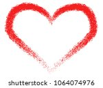 red heart  painted with a rough ... | Shutterstock .eps vector #1064074976