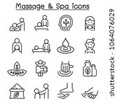 massage   spa icon set in thin... | Shutterstock .eps vector #1064076029