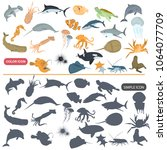 different sea animals color... | Shutterstock .eps vector #1064077709
