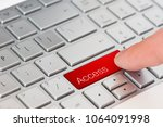 a finger press red access... | Shutterstock . vector #1064091998