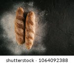 two whole homemade buckwheat... | Shutterstock . vector #1064092388