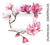pink magnolia. floral botanical ... | Shutterstock . vector #1064096126