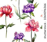 colorful peony. floral... | Shutterstock . vector #1064096366