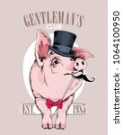 pig in a gentleman top hat  in... | Shutterstock .eps vector #1064100950