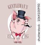 pig in a gentleman top hat  in... | Shutterstock .eps vector #1064100950
