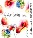 spring flowers with title the...   Shutterstock . vector #1064101799
