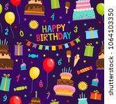 birthday party cartoon seamless ... | Shutterstock .eps vector #1064103350