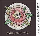 vector rose and skull ancient... | Shutterstock .eps vector #1064105990