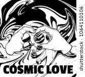 cosmic love. vector hand drawn... | Shutterstock .eps vector #1064110106
