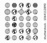 globe web icon set. planet... | Shutterstock .eps vector #1064112890