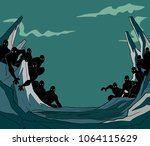 dramatic fictional scene with... | Shutterstock .eps vector #1064115629