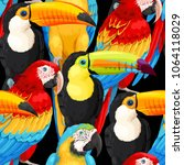 seamless pattern macaws and... | Shutterstock .eps vector #1064118029