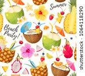 summer seamless cocktail... | Shutterstock .eps vector #1064118290