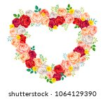 vector roses floral frame for... | Shutterstock .eps vector #1064129390