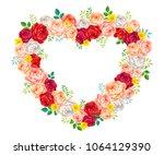 vector roses floral frame for... | Shutterstock .eps vector #1064129390
