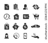 vector image set of loan icons. | Shutterstock .eps vector #1064131994