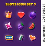 slots icon set. heard  crown ...