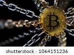 bitcoin trapped with chains  ... | Shutterstock . vector #1064151236