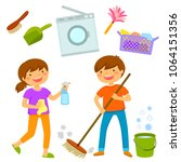 happy boy and girl cleaning the ... | Shutterstock . vector #1064151356