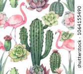 watercolor seamless pattern of... | Shutterstock . vector #1064155490