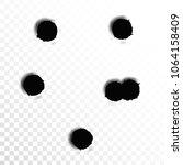 set of six bullet holes.... | Shutterstock .eps vector #1064158409