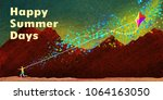 happy summer days background... | Shutterstock . vector #1064163050
