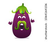 angry screaming eggplant... | Shutterstock .eps vector #1064164106