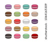 different types of macaroons....   Shutterstock .eps vector #1064165309