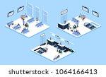 isometric 3d illustration set... | Shutterstock . vector #1064166413