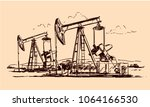 oil jack pump sketch | Shutterstock .eps vector #1064166530