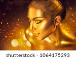 fashion art golden skin woman... | Shutterstock . vector #1064175293